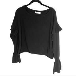 Zara Knit Black Cropped Sweater Small Bell sleeve